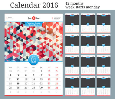 Wall Calendar 2016. Vector Template with Place for Photo. 12 Months. Week Starts Monday. Illustration