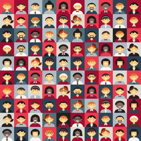 mujer hombre: Plano de fondo de dise�o vectorial. Diferentes personas Car�cter, Mujer, Hombre. Rojo y gris Colores Vectores