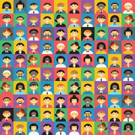 mujer hombre: Dise�o vectorial plano de colores de fondo. Diferentes personas Car�cter, Mujer, Hombre