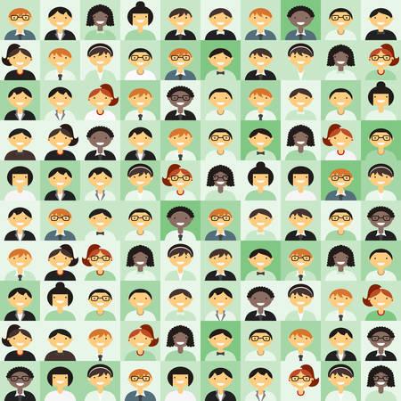 mujer hombre: Plano de fondo de dise�o vectorial. Diferentes personas Car�cter, Mujer, Hombre. Shades of Green Vectores