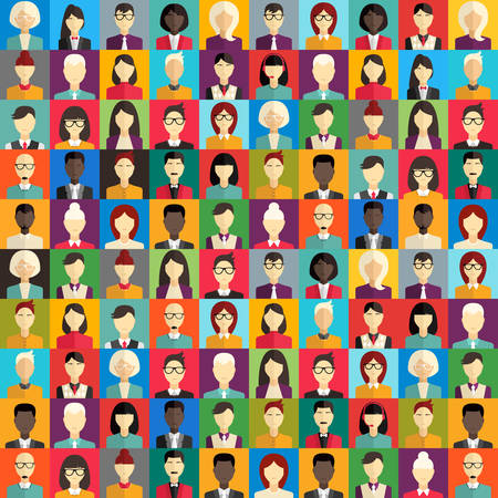 character of people: Flat Design Vector Colorful Background. Different People Character, Female, Male Illustration