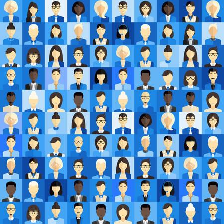 mujer hombre: Plano de fondo de dise�o vectorial. Diferentes personas Car�cter, Mujer, Hombre. Sombras de azul Vectores