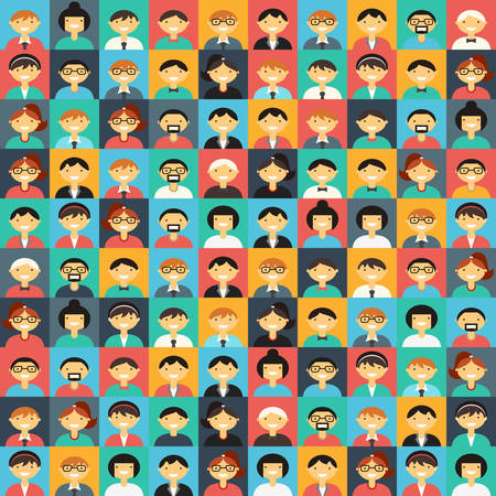 multiplicity: Flat Design Vector Colorful Background. Different People Character, Female, Male Illustration
