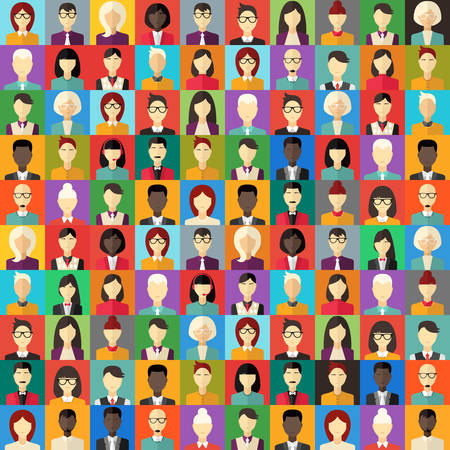 Flat Design Vector Colorful Background. Different People Character, Female, Male 矢量图像