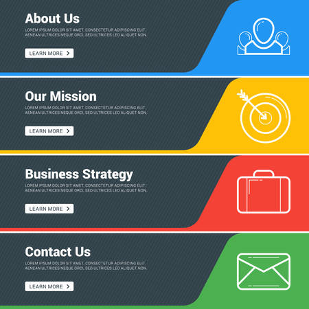 social web sites: Flat Design Concept. Set of Vector Web Banners. Template for Wesite Headers. About us, Our Mission, Business Strategy, Contact us