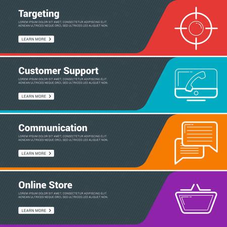 Flat Design Concept. Set of Vector Web Banners. Targeting, Customer Support, Communication, Online Store Illustration