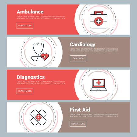 reanimation: Flat Design Concept. Set of Vector Web Banners. Ambulance, Cardiology, Diagnostics, First Aid Illustration