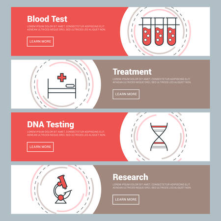 blood test: Flat Design Concept. Set of Vector Web Banners, Blood Test, Treatment, DNA Testing, Research