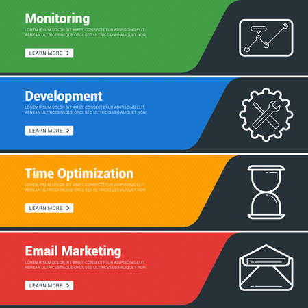 Flat Design Concept. Set of Vector Web Banners. Monitoring, Development, Time Organization, Email Marketing