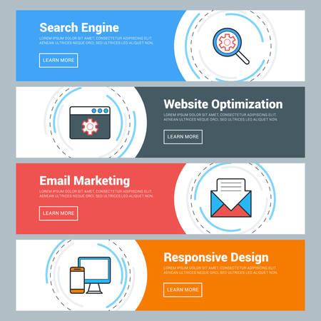 플랫 디자인 개념입니다. 벡터 웹 배너의 집합입니다. 검색 엔진, 웹 사이트 최적화, 이메일 마케팅, 응답 디자인