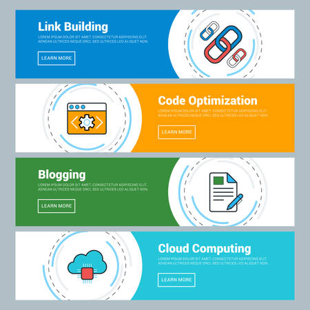blog: Flat Design Concept. Set of Vector Web Banners. Link Building, Code Optimization, Blogging, Cloud Computing