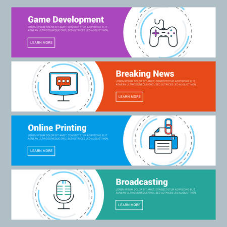 news online: Flat Design Concept. Set of Vector Web Banners. Game Development, Breaking News, Online Printing, Broadcasting