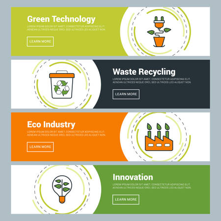 recycling campaign: Flat Design Concept. Set of Vector Web Banners. Green Technology, Waste Recycling, Eco Industry, Innovation