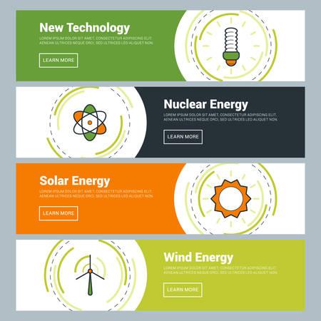 Flache Design-Konzept. Reihe von Vektor-Web-Banner. Neue Technik, Kernenergie, Sonnenenergie, Windenergie Vektorgrafik