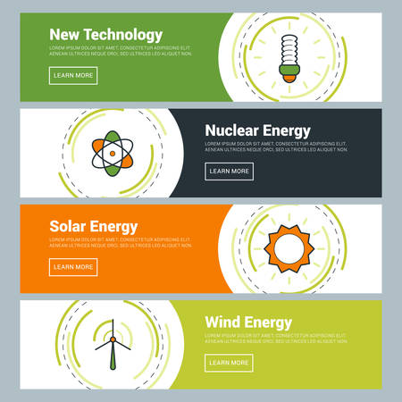 Flat Design Concept. Set of Vector Web Banners. New Technology, Nuclear Energy, Solar Energy, Wind Energy Illustration