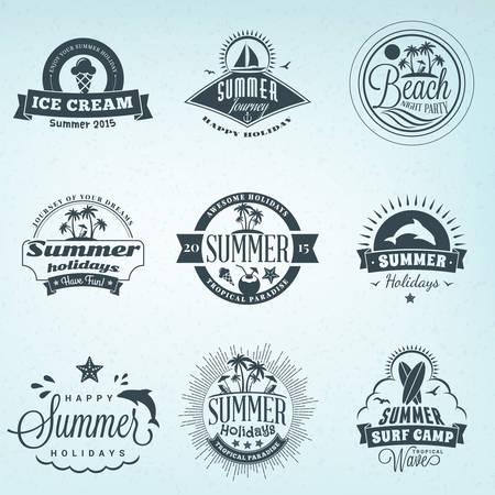 logotypes: Summer Holidays Design Elements. Set of Hipster Vintage Logotypes and Badges Illustration