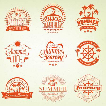 water animal bird card  poster: Summer Holidays Design Elements. Set of Hipster Vintage Logotypes and Badges Illustration