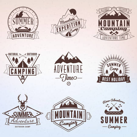 Summer Holidays Design Elements. Set of Hipster Vintage Logotypes and Badges Illustration