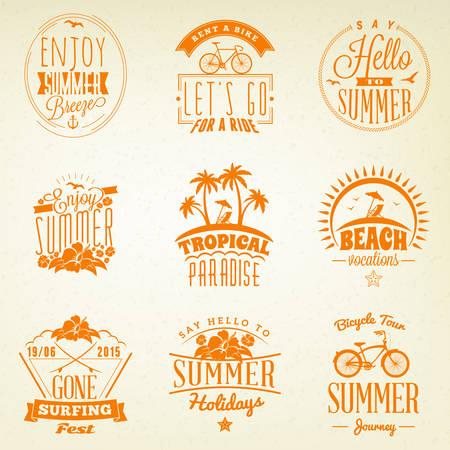 water animal bird card  poster: Set of Summer Holidays Badges. Hipster Vintage Logotypes and Design Elements