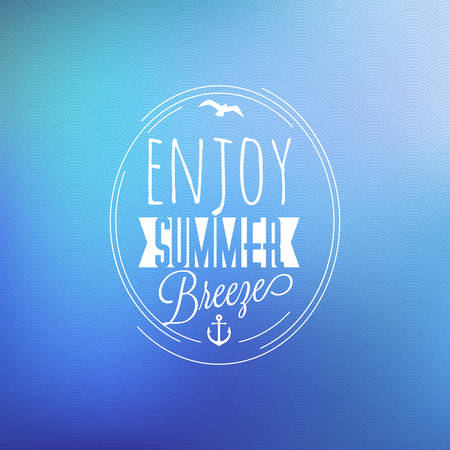 water animal bird card  poster: Vintage Hipster Summer Holidays Label or Badge. Vector Design Element on Coloful Summer Background