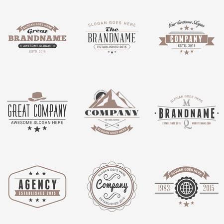 logotypes: Set of Hipster Vintage Labels, Logotypes, Badges. Thin Line Design Templates Illustration