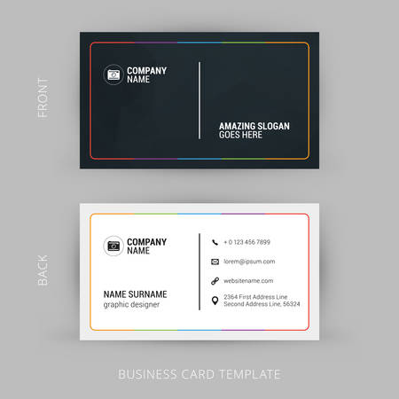 Vector Modern Creative and Clean Business Card Template. Flat Design Фото со стока - 44049096