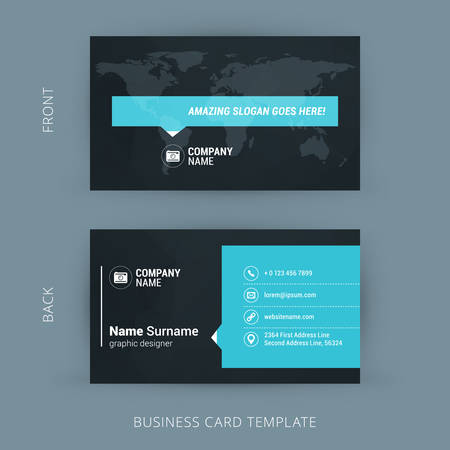 Vector Modern Creative and Clean Business Card Template. Flat Design Фото со стока - 44049106