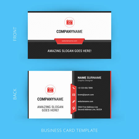Vector Modern Creative and Clean Business Card Template. Flat Design Фото со стока - 44049109