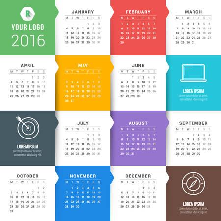 calendario diciembre: Vector calendario de la plantilla. Calendario 2016. La semana comienza Lunes