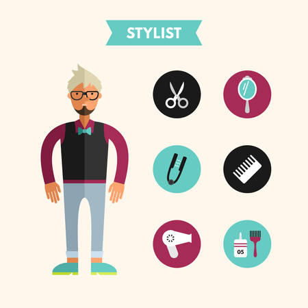 stylist: Flat Design Vector Illustration of Stylist with Icon Set. Infographic Design Elements