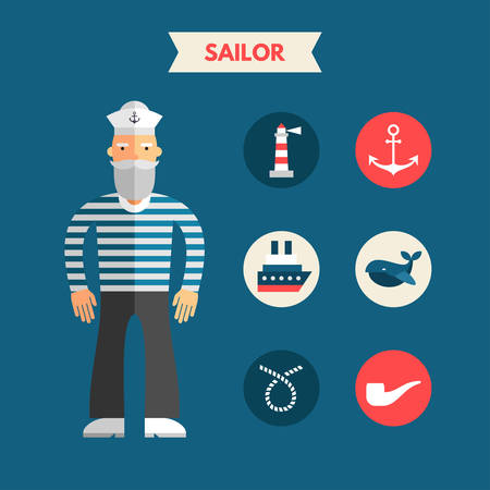 sailor: Flat Design Vector Illustration of Sailor with Icon Set. Infographic Design Elements