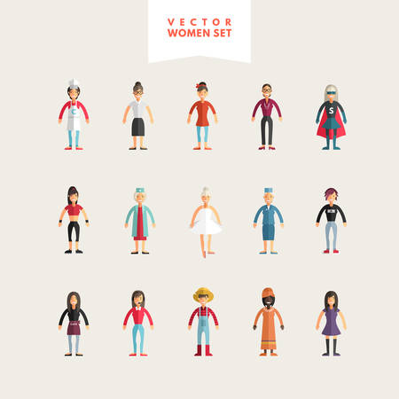 rocker: Set of Flat Design Professional People Characters. Women Set. Cook, Teacher, Superwoman, Doctor, Dancer, Rocker, Waitress, Farmer