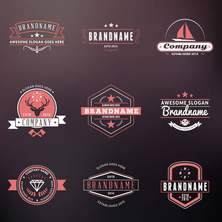 Set of Hipster Vintage Labels, icons, Badges. Thin Line Design Templates on Blurred Background