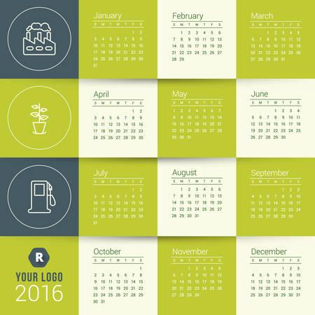 kalendarz: Wektor szablon kalendarza. Kalendarz 2016. Tydzień zaczyna się w niedzielę