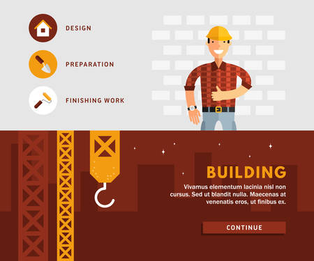 albañil: Conceptos de diseño de planos para la web banners y materiales promocionales. Constructor y construcción