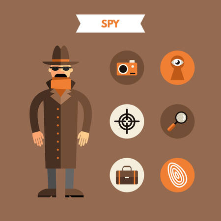 shadowing: Flat Design Vector Illustration of Spy with Icon Set. Infographic Design Elements