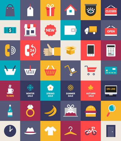 compras: Conjunto de Piso Diseño y Negocios iconos de compras. Ilustración vectorial
