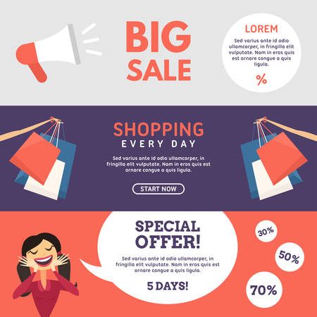 woman shopping bags: Big Sale. Shopping. Special Offer. Set of Flat Design Concepts for Web Banners and Promotional Materials Illustration