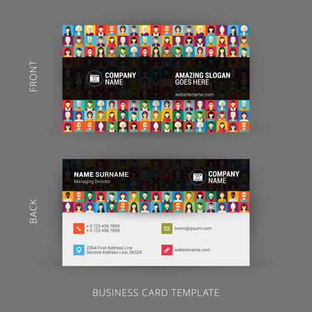 background card: Creative and Clean Business Card Template. Flat Design Pattern with Human Faces