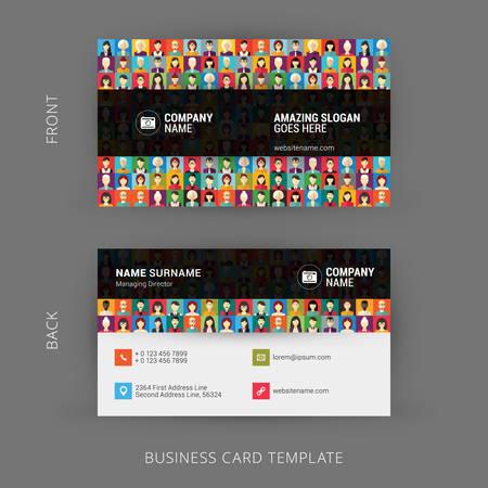 fondo para tarjetas: Plantilla de la tarjeta de visita creativa y limpio. Patrón de diseño plano con caras humanas