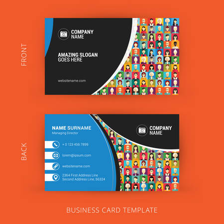 Creative and Clean Business Card Template. Flat Design Pattern with Human Faces 版權商用圖片 - 44711390