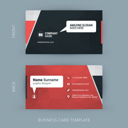 Creative and Clean Business Card Template. Red Polygonal Background with Speach Bubble