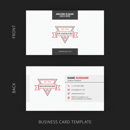 business card design: Creative and Clean Business Card Template. Background with Triangles