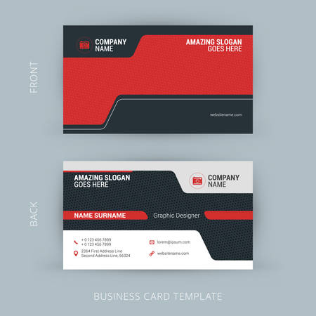 name: Creative and Clean Business Card Template. Black and Red Colors
