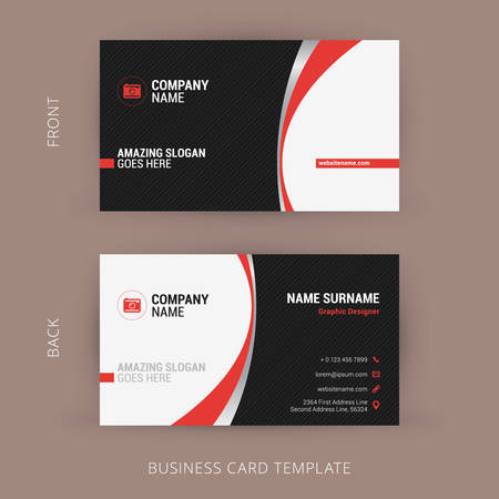 business card layout: Creative and Clean Business Card Template. Black and Red Colors