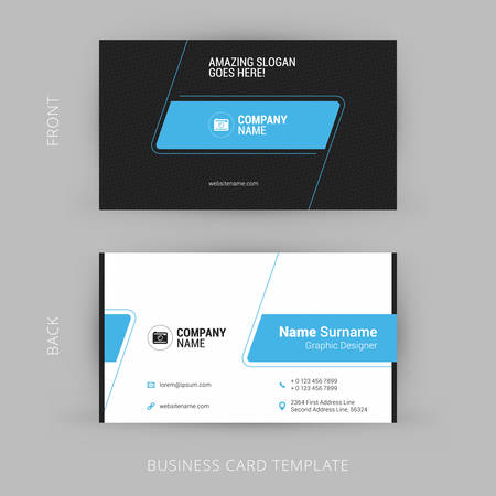 business card template: Creative and Clean Business Card Template. Black and Blue Colors