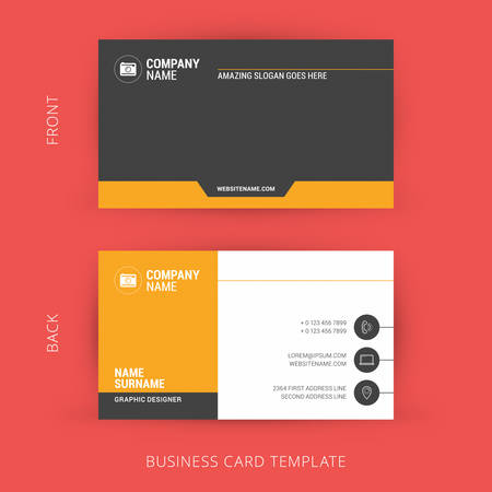 business card template: Creative and Clean Business Card Template. Flat Design