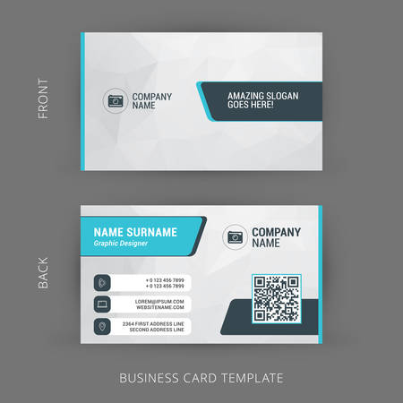 Creative and Clean Business Card Template with QR Qode 版權商用圖片 - 44708639