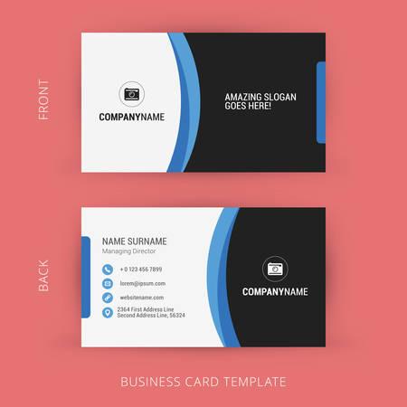 創造的なビジネス カードのテンプレートです。黒と青の色