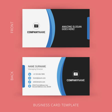 Creative and Clean Business Card Template. Black and Blue Colors